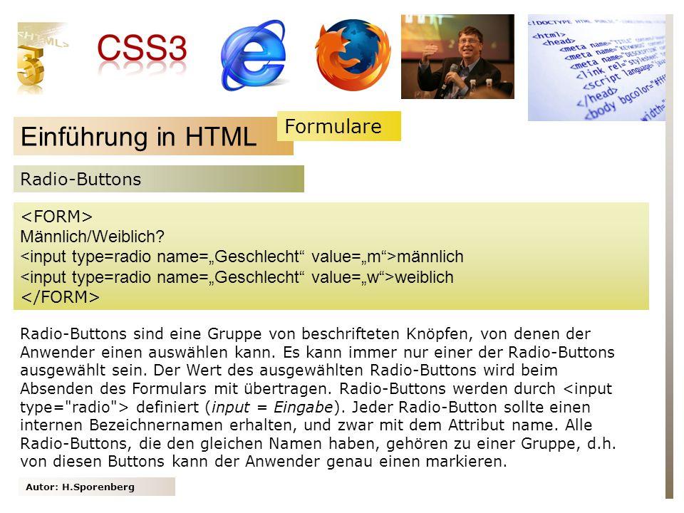 Einführung in HTML Formulare Radio-Buttons Männlich/Weiblich