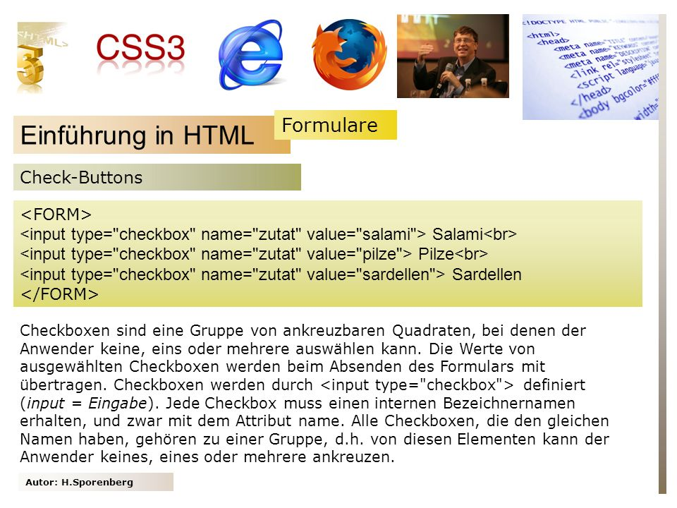 Einführung in HTML Formulare Check-Buttons