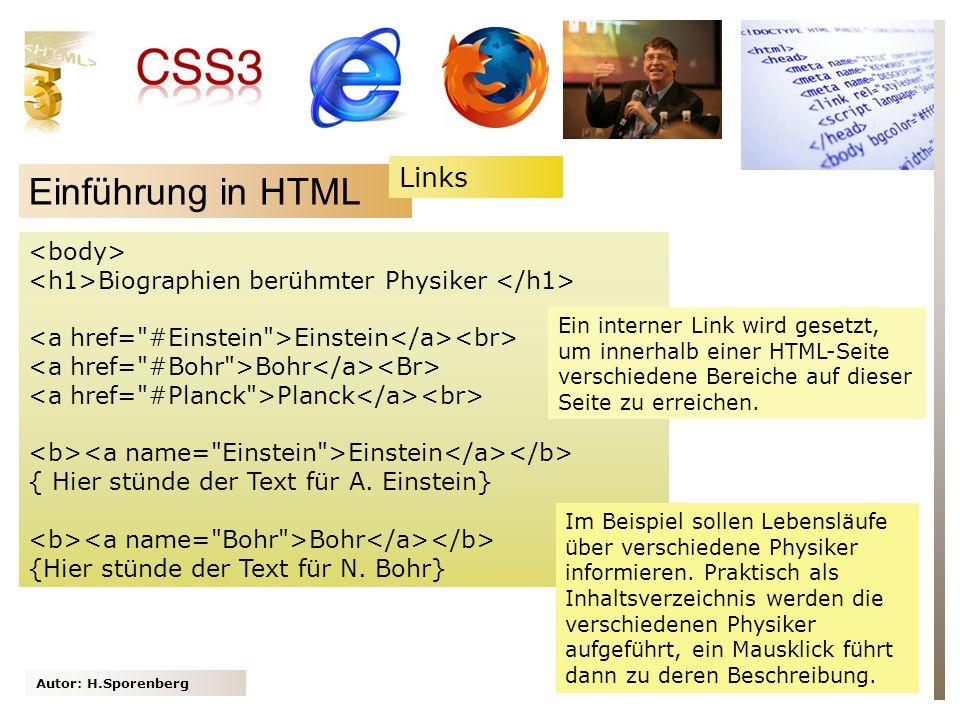 Einführung in HTML Links <body>