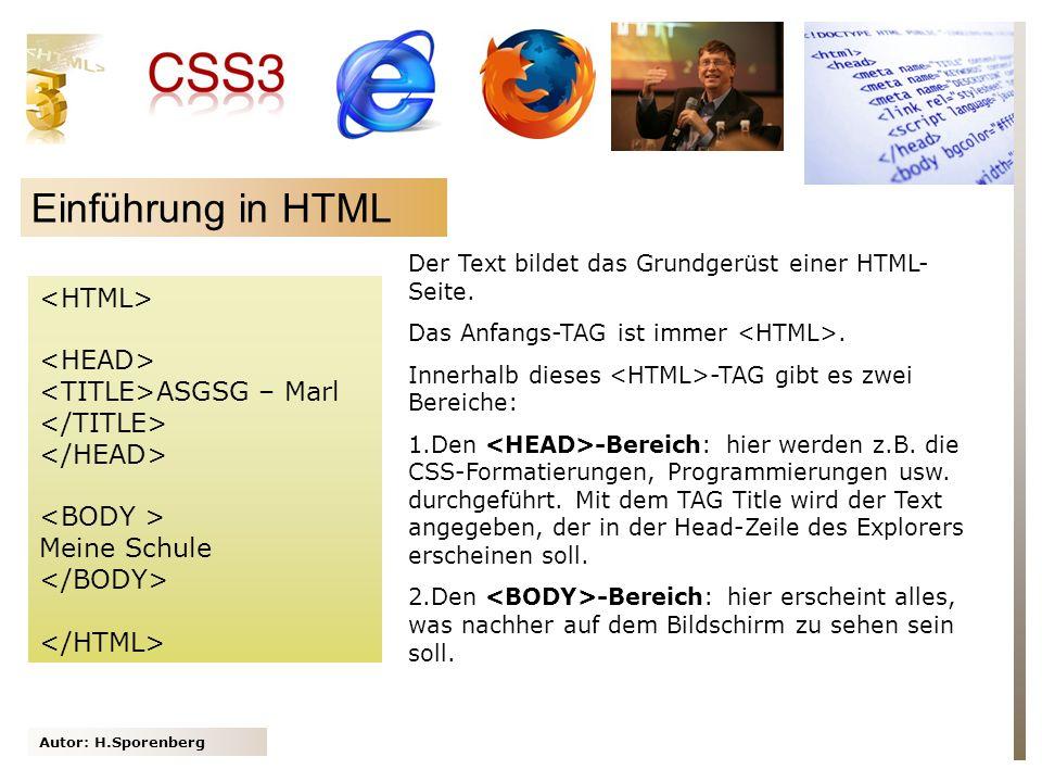 Einführung in HTML <HTML> <HEAD> <TITLE>ASGSG – Marl