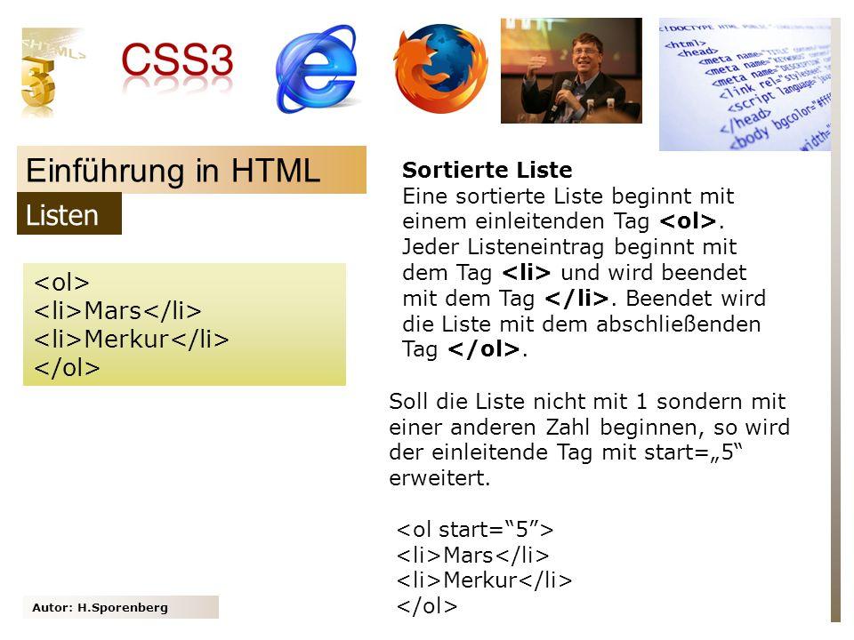 Einführung in HTML Listen <ol> <li>Mars</li>
