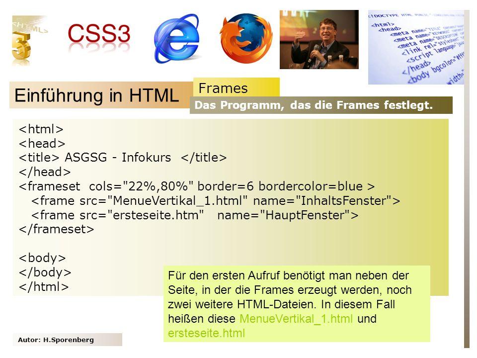 Einführung in HTML Frames <html> <head>
