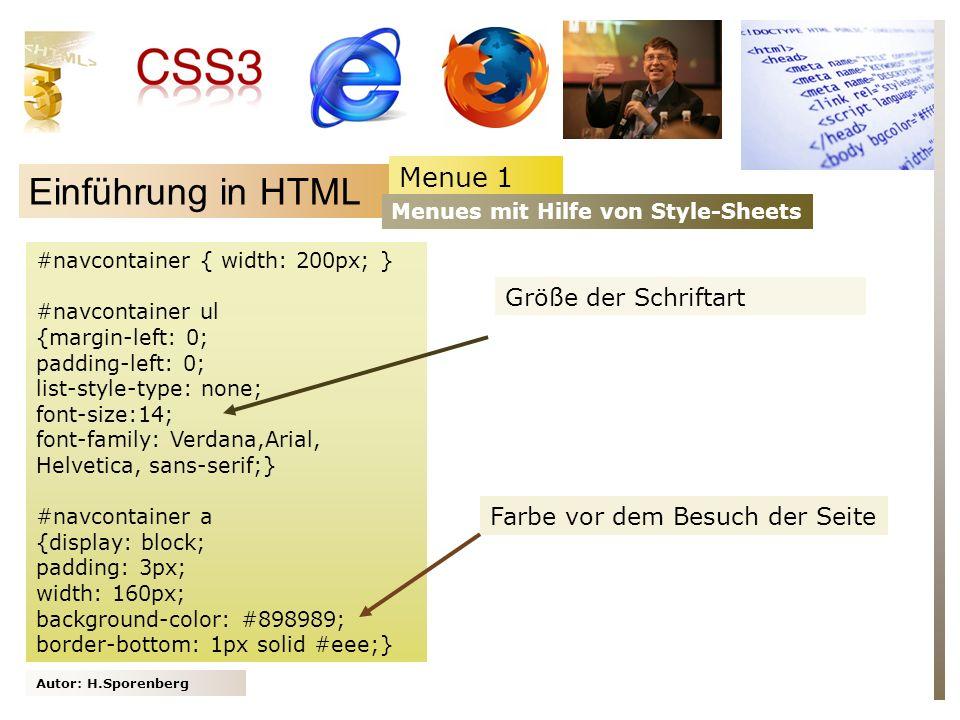 Einführung in HTML Menue 1 Größe der Schriftart