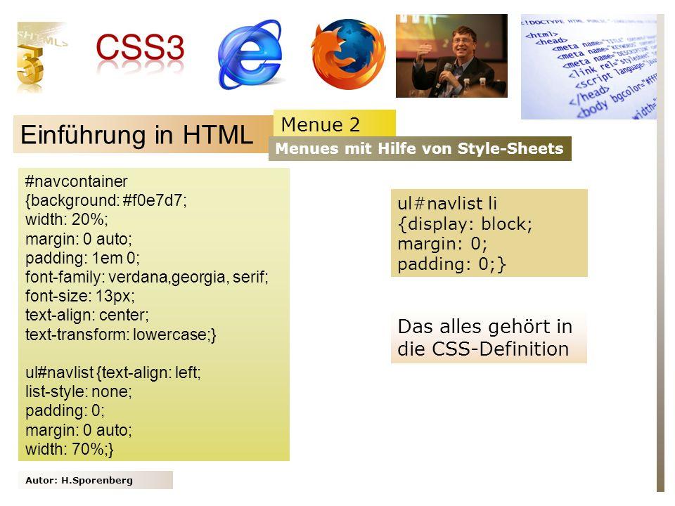 Einführung in HTML Menue 2 Das alles gehört in die CSS-Definition