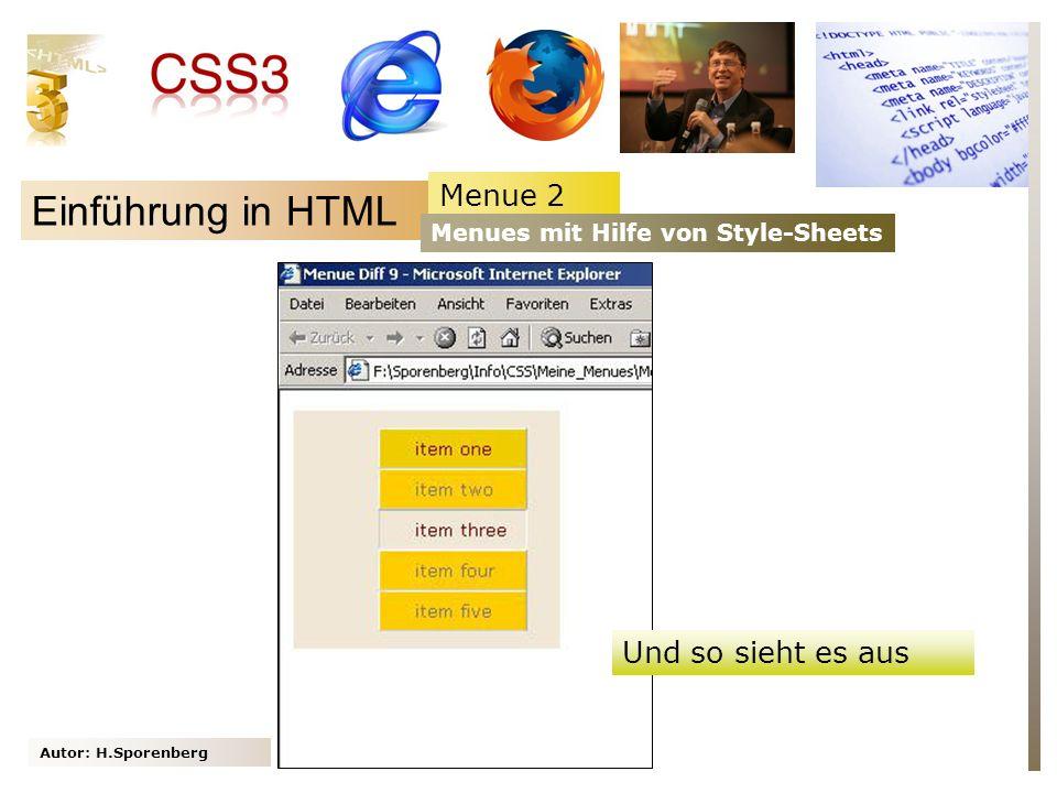 Einführung in HTML Menue 2 Und so sieht es aus