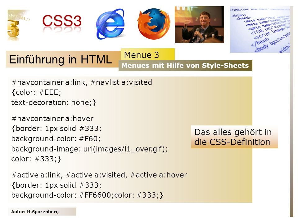 Einführung in HTML Menue 3 Das alles gehört in die CSS-Definition