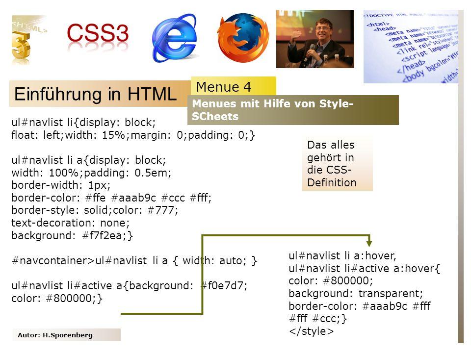 Einführung in HTML Menue 4 Menues mit Hilfe von Style-SCheets