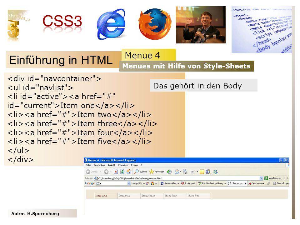 Einführung in HTML Menue 4 <div id= navcontainer >