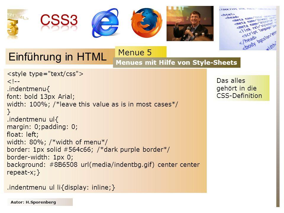 Einführung in HTML Menue 5 Menues mit Hilfe von Style-Sheets