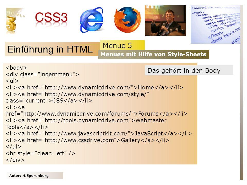 Einführung in HTML Menue 5 Das gehört in den Body