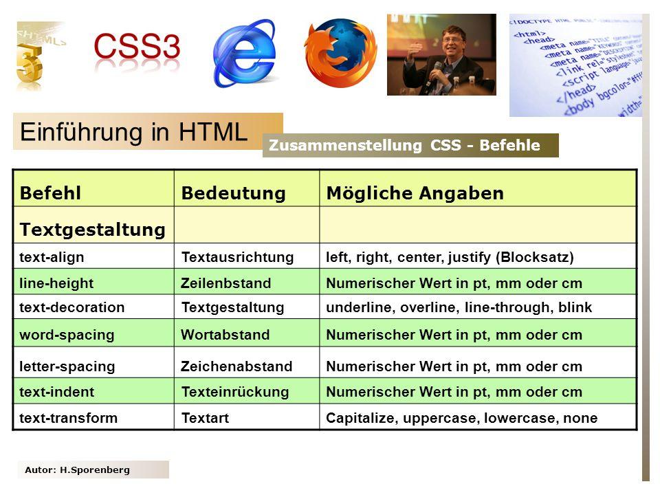 Einführung in HTML Befehl Bedeutung Mögliche Angaben Textgestaltung