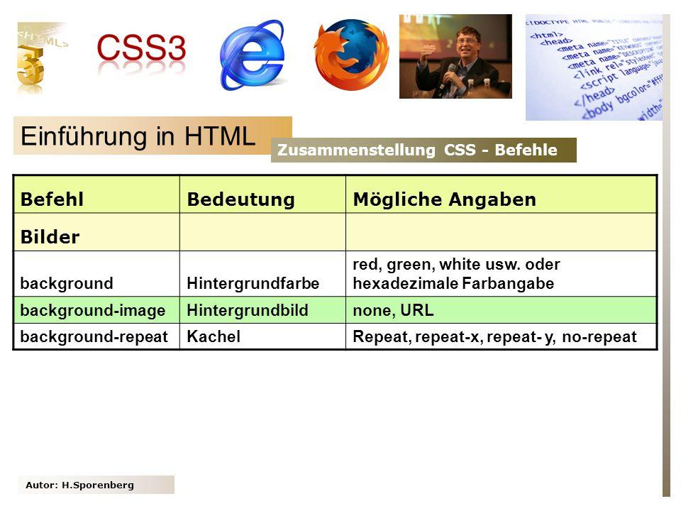 Einführung in HTML Befehl Bedeutung Mögliche Angaben Bilder background