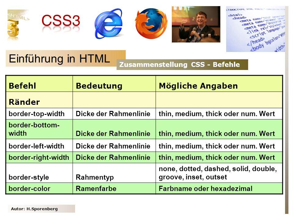 Einführung in HTML Befehl Bedeutung Mögliche Angaben Ränder