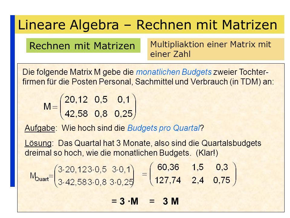 Wunderbar Skalarmultiplikation Von Matrizen Arbeitsblatt Fotos ...
