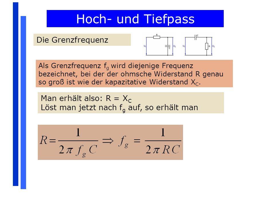Hoch- und Tiefpass Die Grenzfrequenz Man erhält also: R = XC