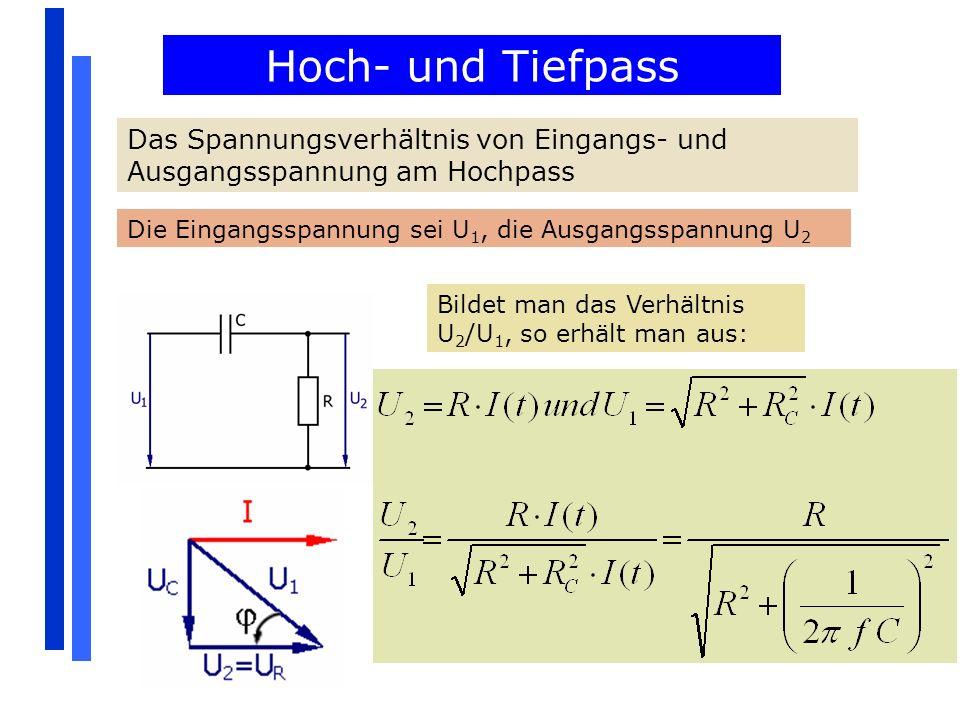 Hoch- und Tiefpass Das Spannungsverhältnis von Eingangs- und Ausgangsspannung am Hochpass. Die Eingangsspannung sei U1, die Ausgangsspannung U2.