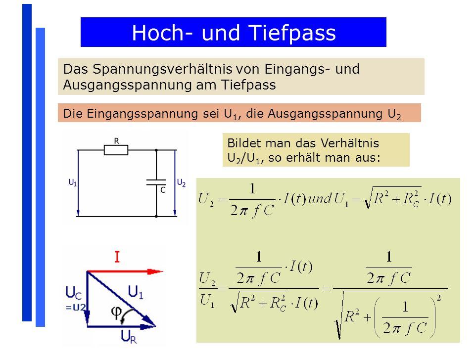 Hoch- und Tiefpass Das Spannungsverhältnis von Eingangs- und Ausgangsspannung am Tiefpass. Die Eingangsspannung sei U1, die Ausgangsspannung U2.