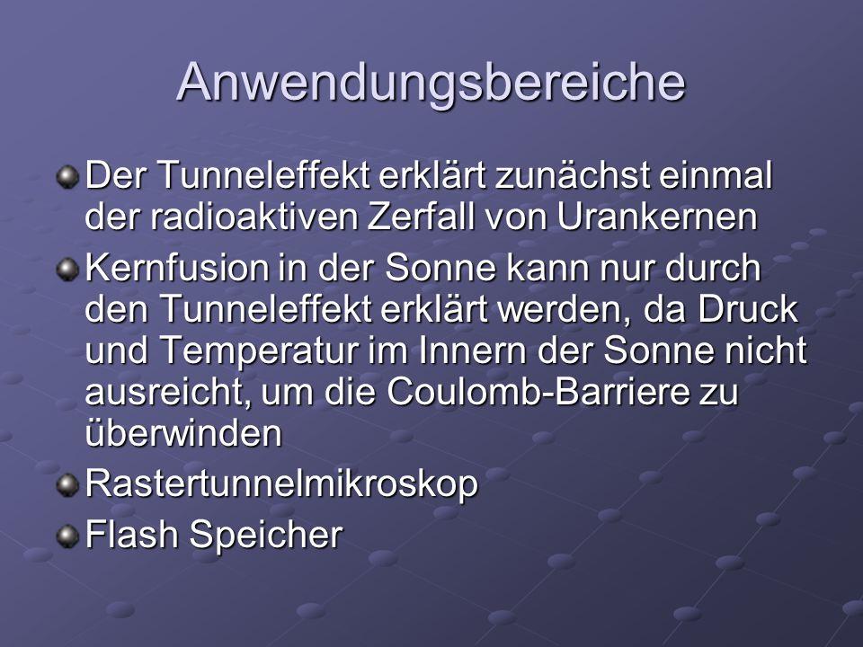 Anwendungsbereiche Der Tunneleffekt erklärt zunächst einmal der radioaktiven Zerfall von Urankernen.
