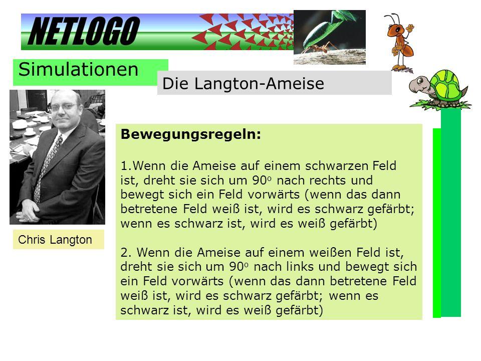 Simulationen Die Langton-Ameise Bewegungsregeln: