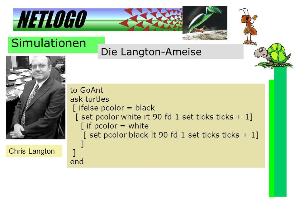 Simulationen Die Langton-Ameise to GoAnt ask turtles