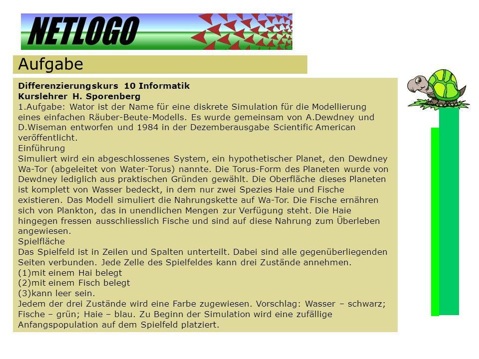 Aufgabe Differenzierungskurs 10 Informatik Kurslehrer H. Sporenberg