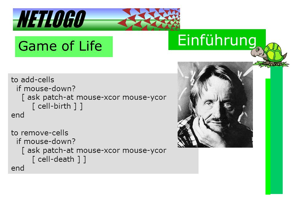 Einführung Game of Life to add-cells if mouse-down