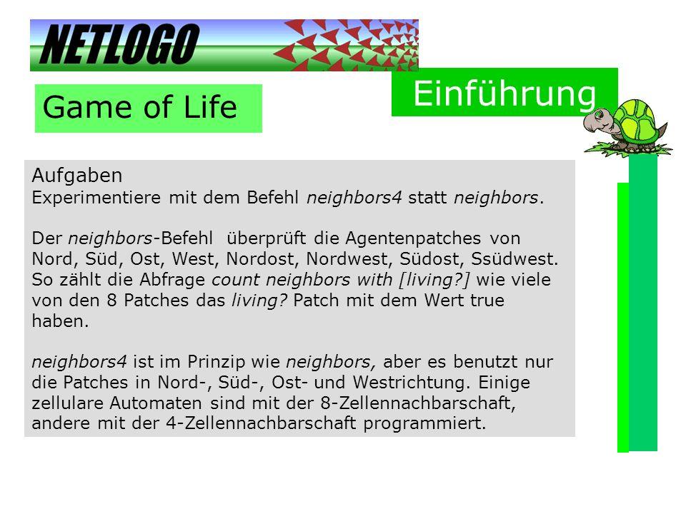 Einführung Game of Life Aufgaben
