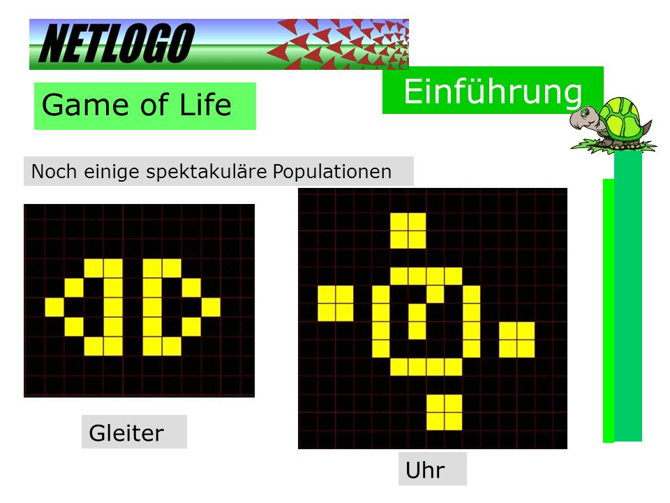 Einführung Game of Life Gleiter Uhr