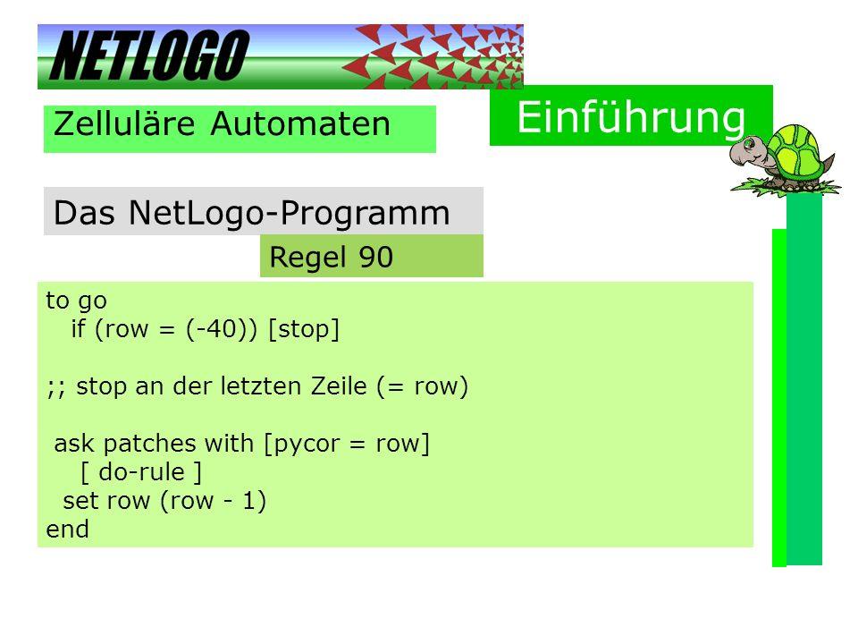 Einführung Zelluläre Automaten Das NetLogo-Programm Regel 90 to go