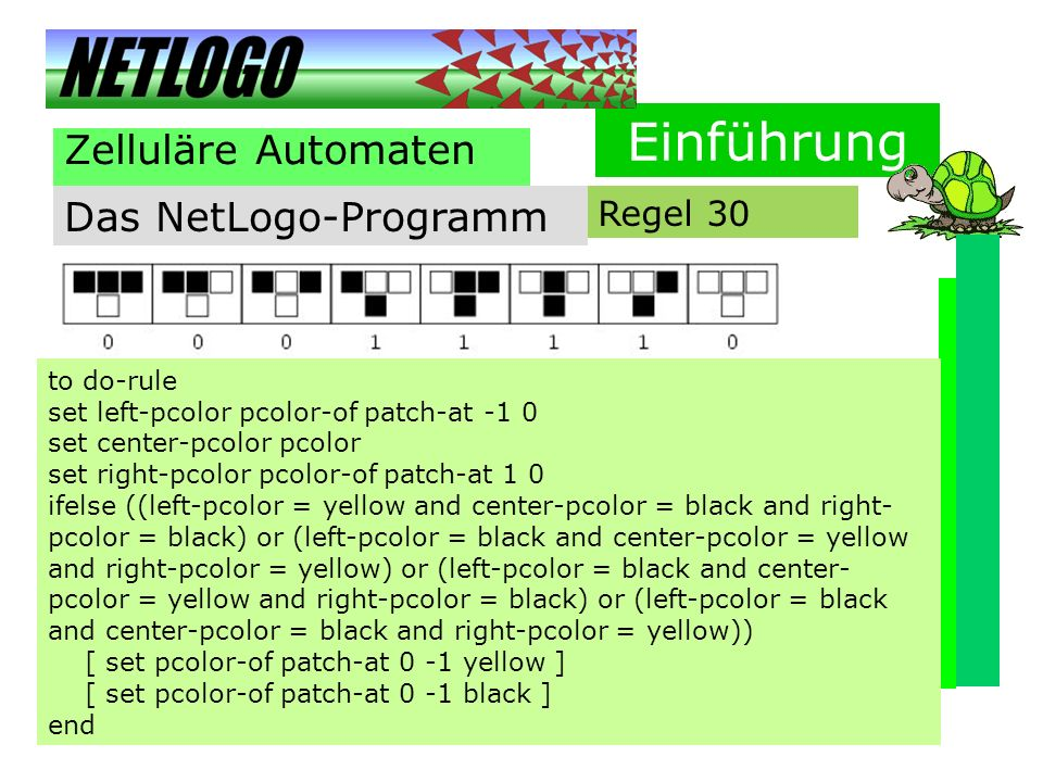 Einführung Zelluläre Automaten Das NetLogo-Programm Regel 30