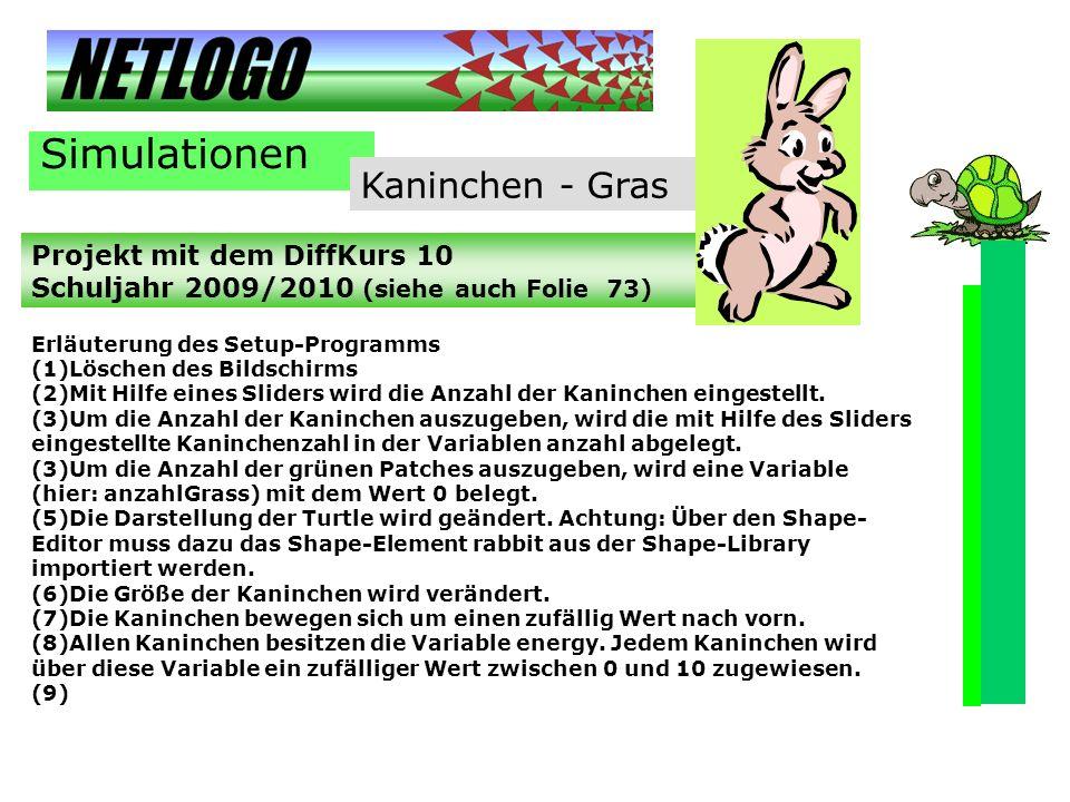 Simulationen Kaninchen - Gras Projekt mit dem DiffKurs 10