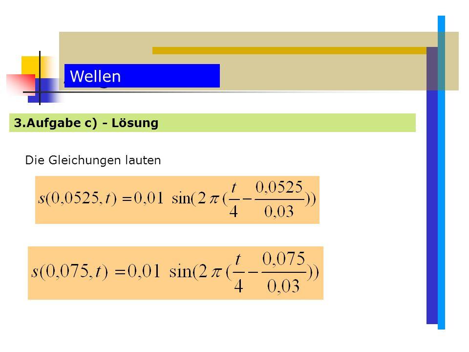 Aufgaben Wellen 3.Aufgabe c) - Lösung Die Gleichungen lauten