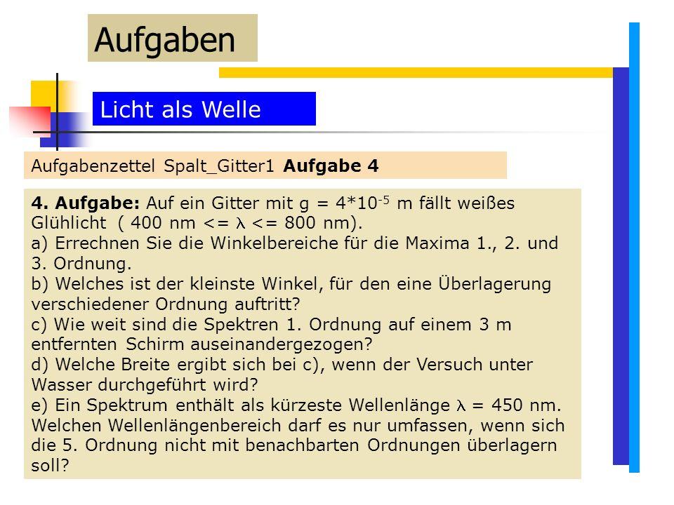 Aufgaben Licht als Welle Aufgabenzettel Spalt_Gitter1 Aufgabe 4