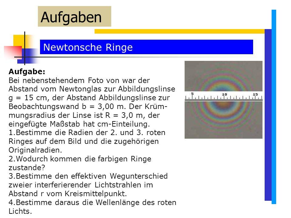 Aufgaben Newtonsche Ringe Aufgabe: