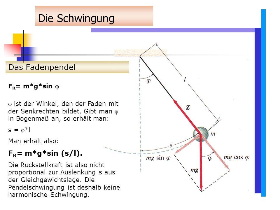 Die Schwingung Das Fadenpendel FR= m*g*sin (s/l). FR= m*g*sin 
