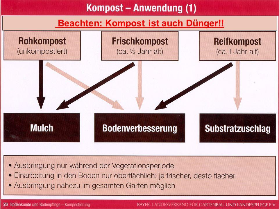 Beachten: Kompost ist auch Dünger!!
