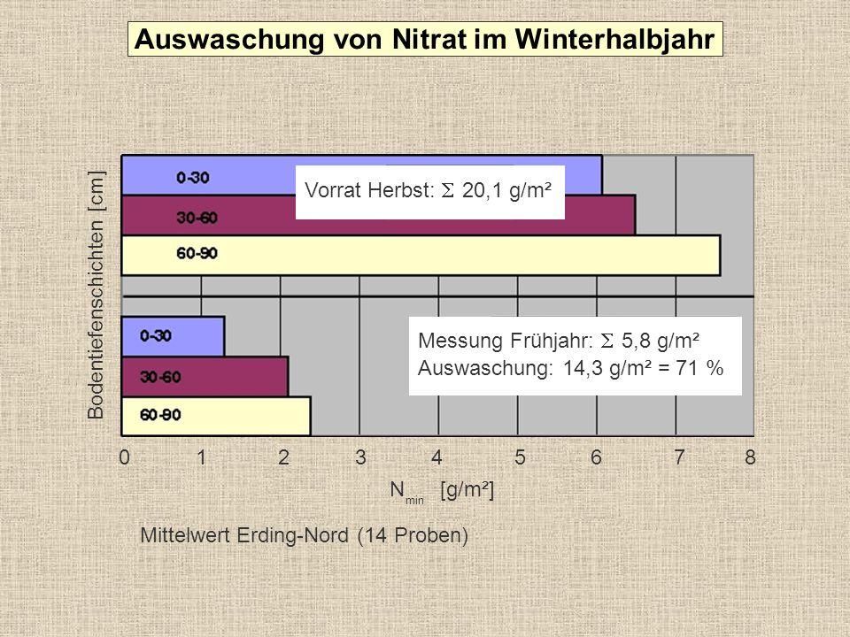 Auswaschung von Nitrat im Winterhalbjahr
