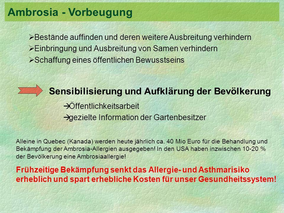 Ambrosia - Vorbeugung Sensibilisierung und Aufklärung der Bevölkerung