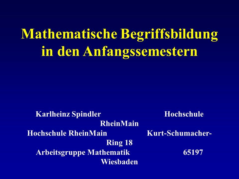 Mathematische Begriffsbildung in den Anfangssemestern