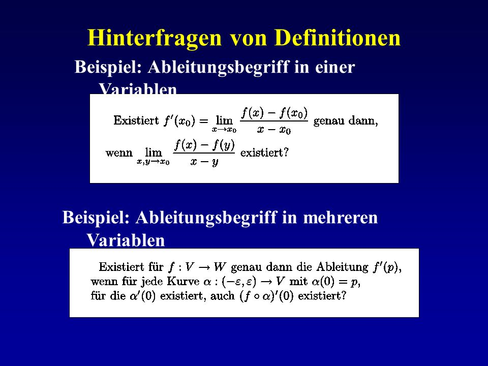 Hinterfragen von Definitionen