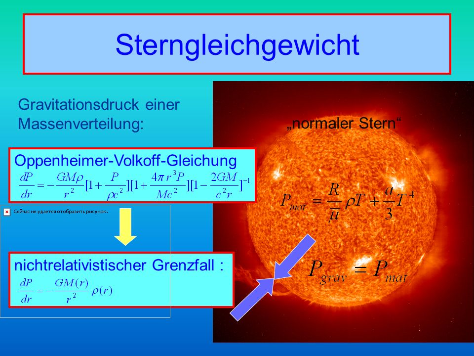 Sterngleichgewicht Gravitationsdruck einer Massenverteilung: