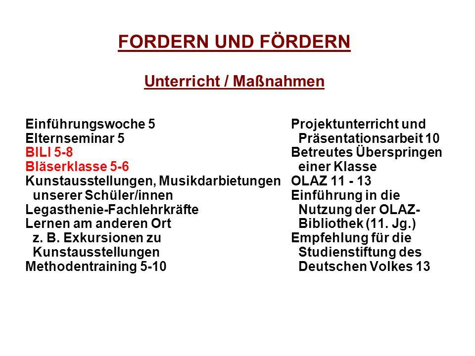 FORDERN UND FÖRDERN Unterricht / Maßnahmen
