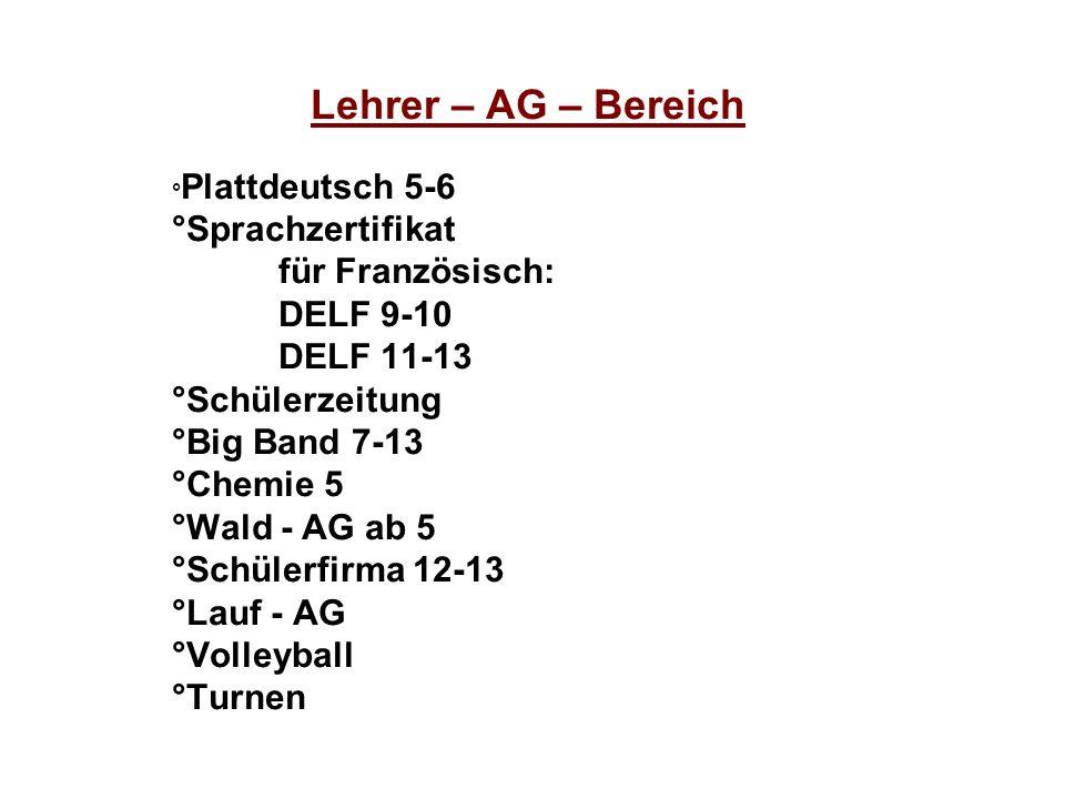 Lehrer – AG – Bereich °Sprachzertifikat für Französisch: DELF 9-10