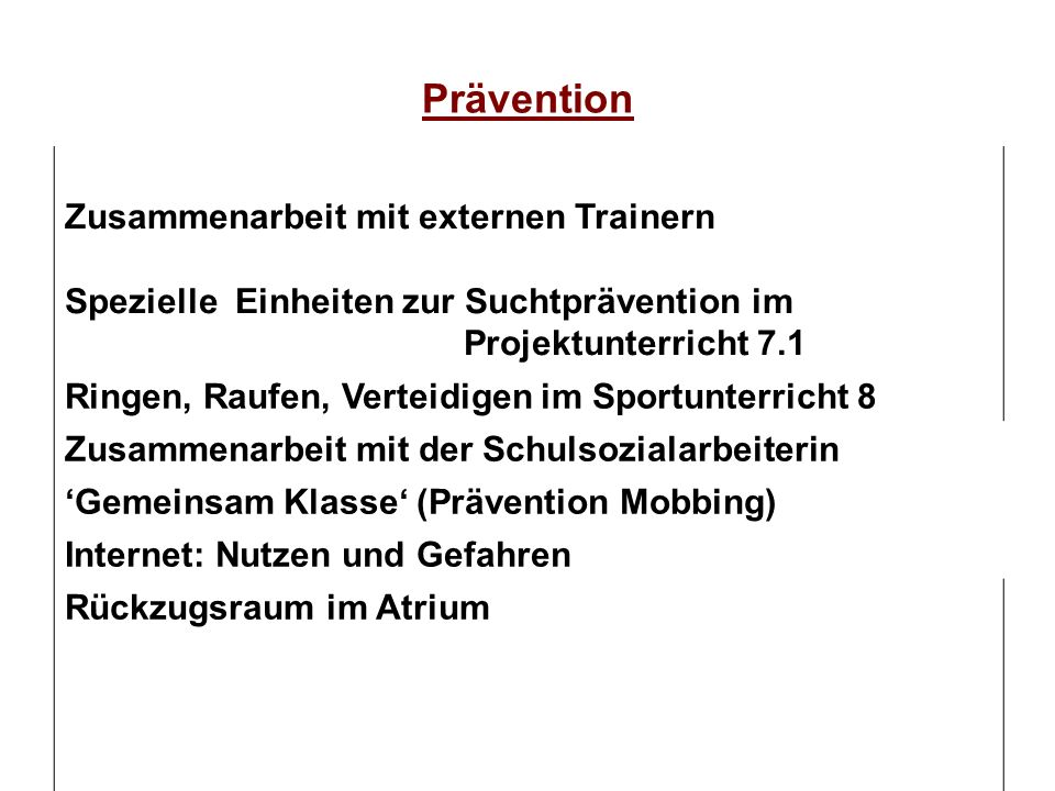 Prävention Zusammenarbeit mit externen Trainern