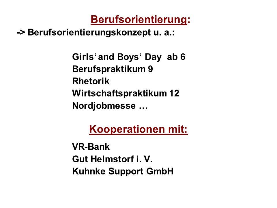 Kooperationen mit: -> Berufsorientierungskonzept u. a.: