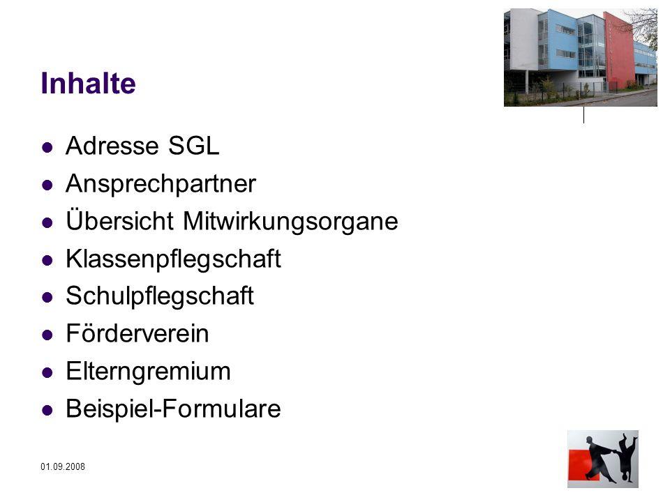 Inhalte Adresse SGL Ansprechpartner Übersicht Mitwirkungsorgane