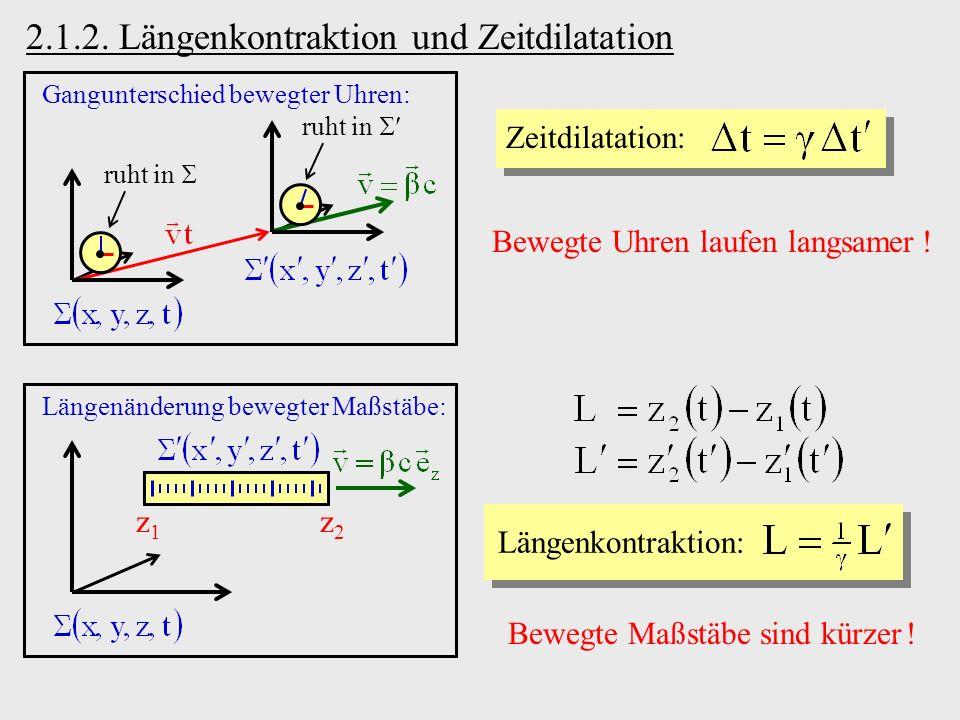 2.1.2. Längenkontraktion und Zeitdilatation