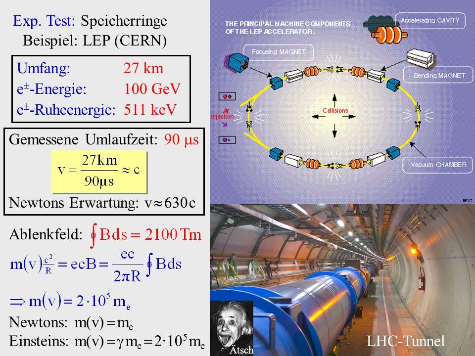 Exp. Test: Speicherringe Beispiel: LEP (CERN)