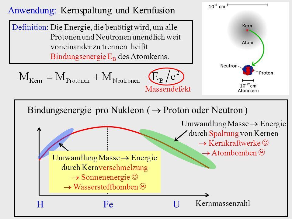 Anwendung: Kernspaltung und Kernfusion