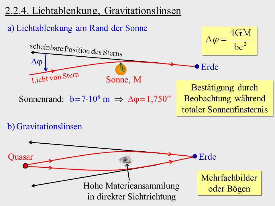 2.2.4. Lichtablenkung, Gravitationslinsen